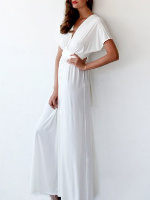 White Plain Evening Polyester Maxi Dress