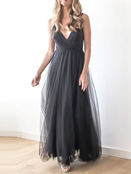 Black Casual Polyester Skater Maxi Dress