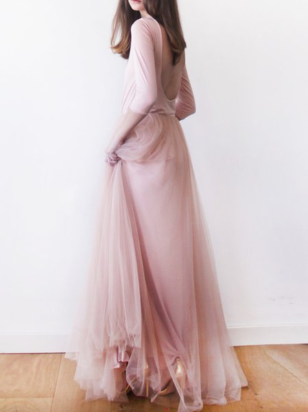 Pink Polyester Evening Maxi Dress