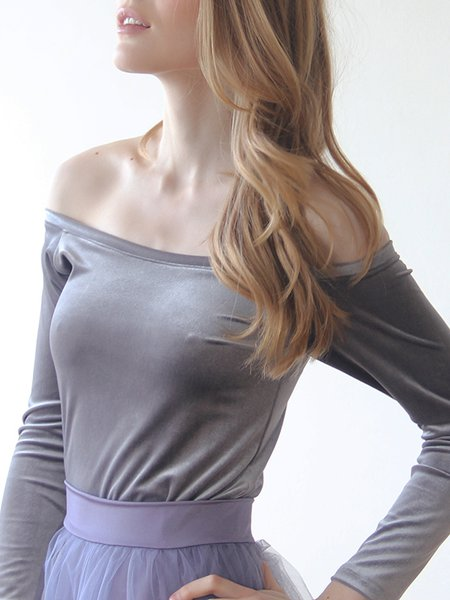 Gray Off Shoulder Solid Velvet  Long Sleeved Top