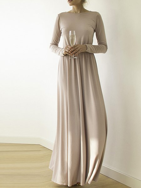 Pink Polyester Pleated Crew Neck Long Sleeve Maxi Dress