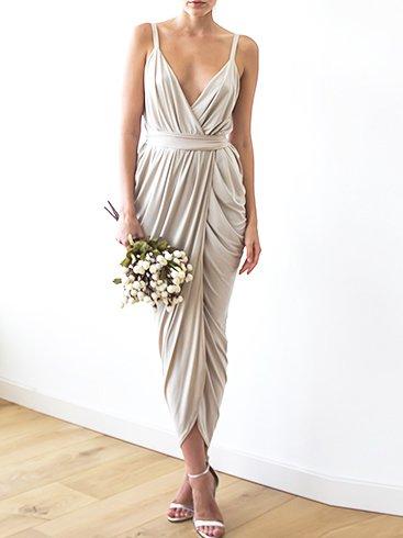 Champagne Maxi Tulip Evening Wrap Dress