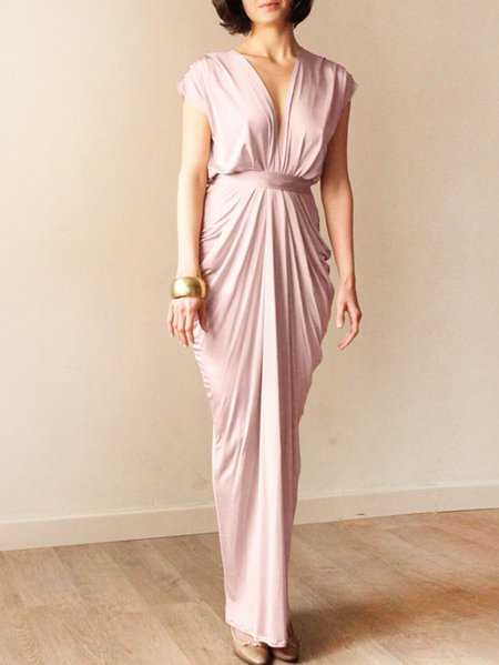 Pink Plain Sleeveless Shirred V Neck Maxi Dress