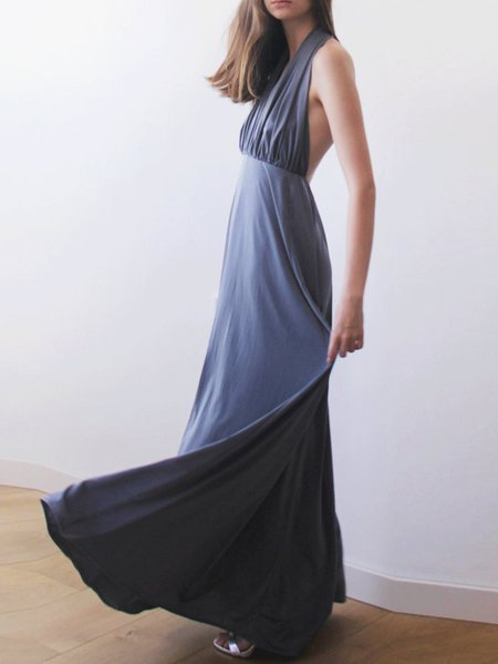 Swing Sleeveless Evening Hand Made V Neck Maxi Dress