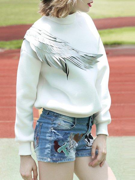 White Long Sleeve Appliqued Sweatshirt