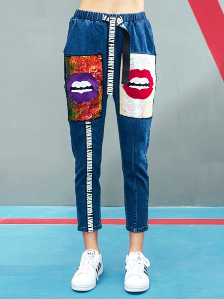 Blue Street Appliqued Abstract Jeans