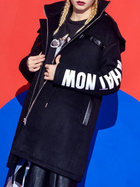 Black Long Sleeve Letter Coat