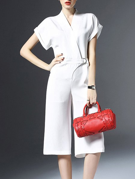 Casual Polyester Plain V Neck Short Sleeve Jumpsuit