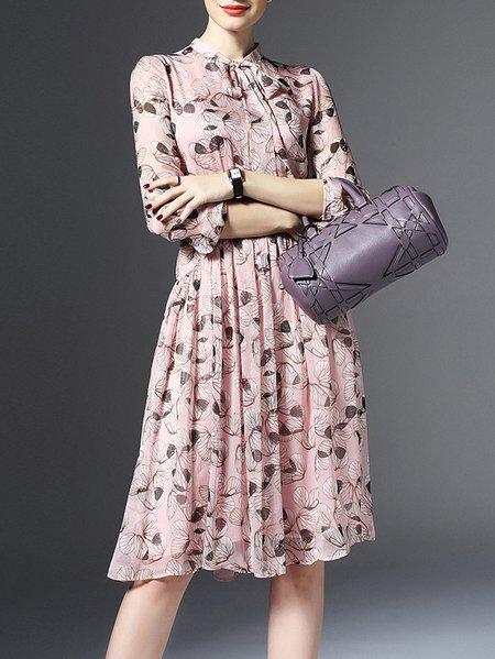 Pink Floral-print Casual Midi Dress
