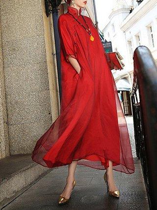 Red Shift Silk Half Sleeve Pockets Midi Dress