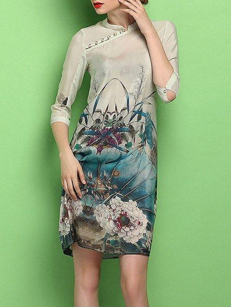 Multicolor Silk Printed Vintage Mini Dress