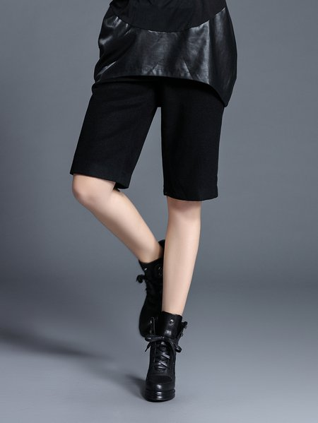 Black Simple Wool Blend Plain Cropped Pants