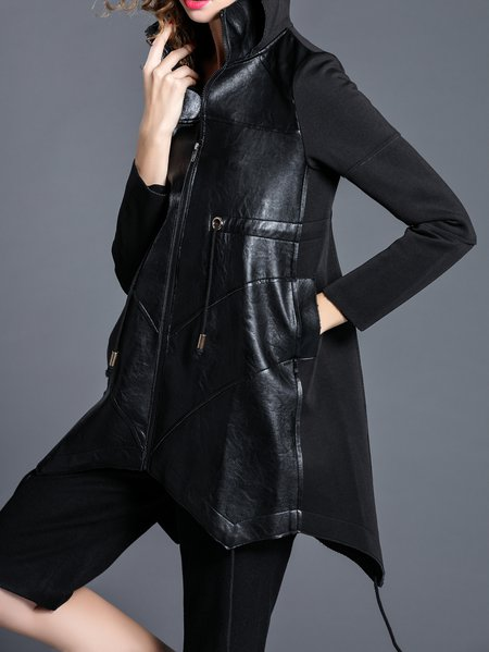 Black Polyester Plain Long Sleeve Coat