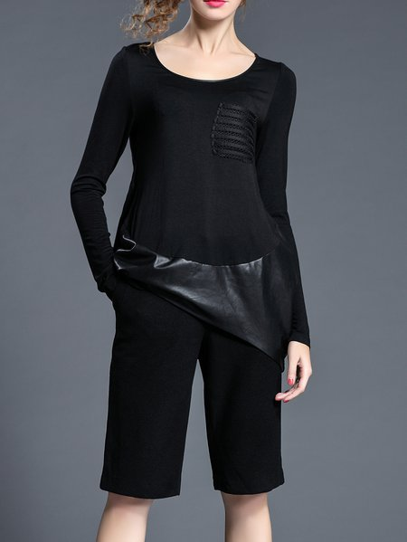 Plain Paneled Long Sleeve Casual Long Sleeve Top