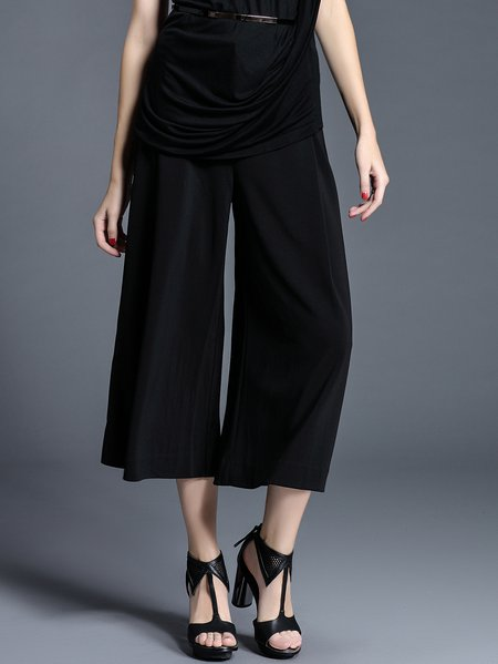 Black Polyester Simple Plain Wide Leg Pants