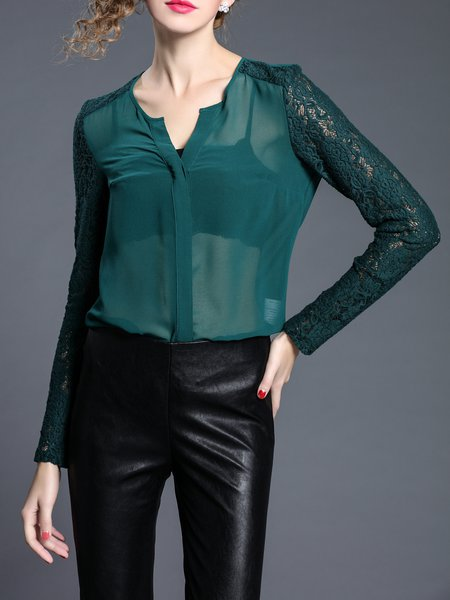 Green Long Sleeve Plain Blouse