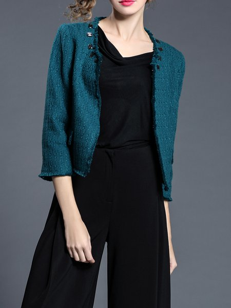 Plain Polyester 3/4 Sleeve Casual Cropped Jacket