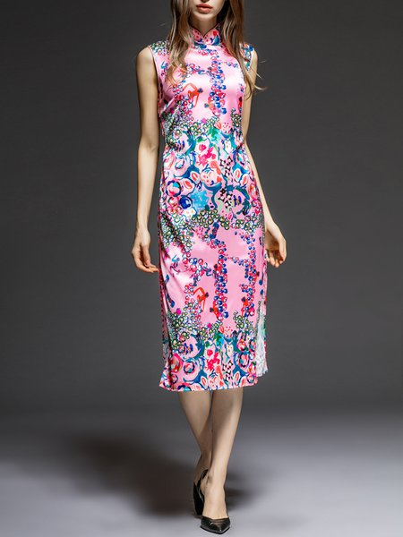 Floral-print Sleeveless Turtleneck Silk Vintage Midi Dress