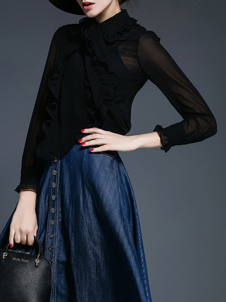 Two Piece Long Sleeve Polyester Simple Blouse