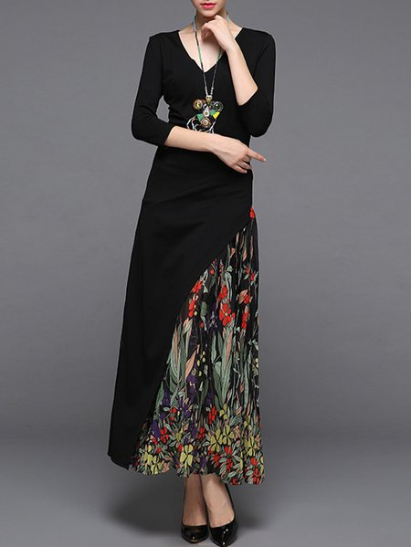 Frill Sleeve Casual Asymmetric Flounce Maxi Dress