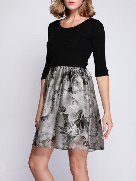 Gray Abstract Half Sleeve Mini Dress