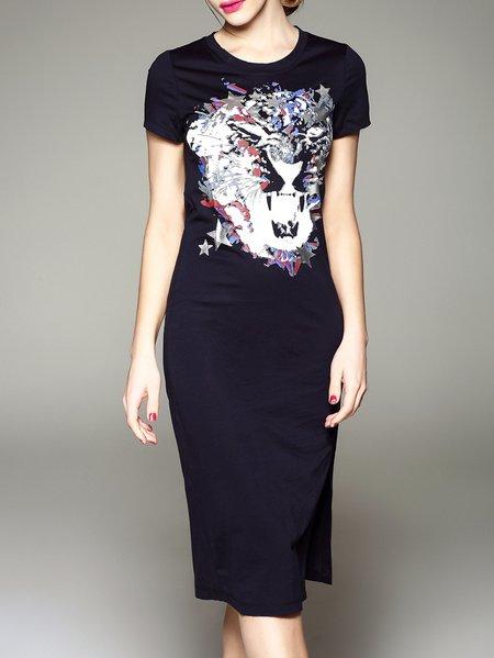 Navy Blue Cotton 3/4 Sleeve Midi Dress