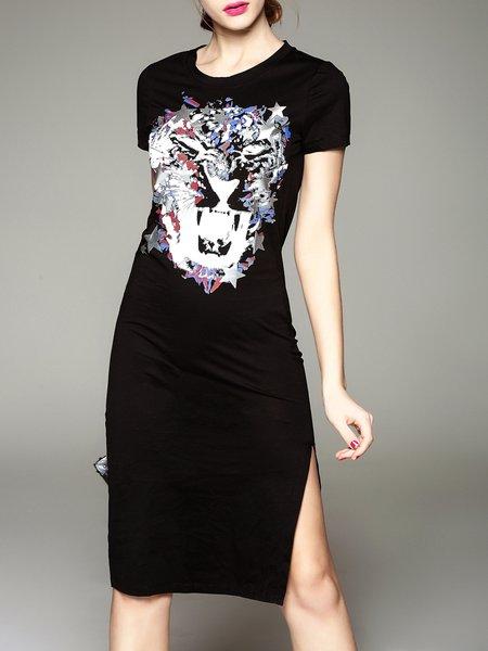 Sheath Short Sleeve Casual Animal Print Midi Dress