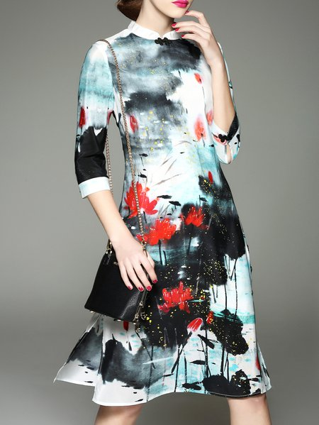Multicolor Floral Crew Neck 3/4 Sleeve Silk Midi Dress