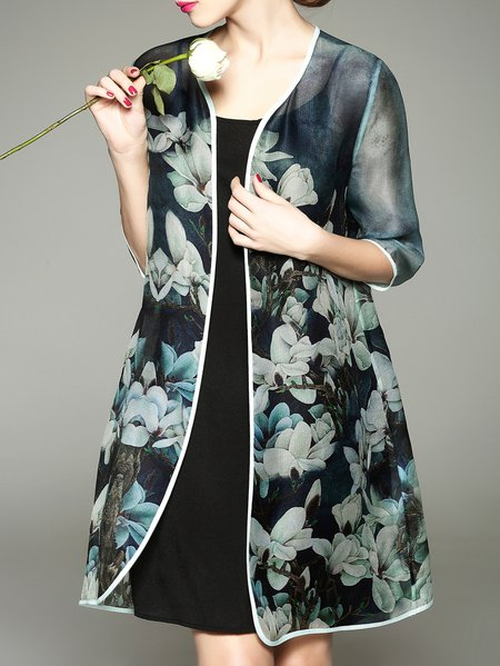 Green Casual Silk Coat