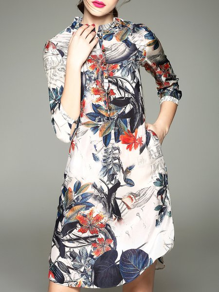 Multicolor Floral-print 3/4 Sleeve Silk Mini Dress