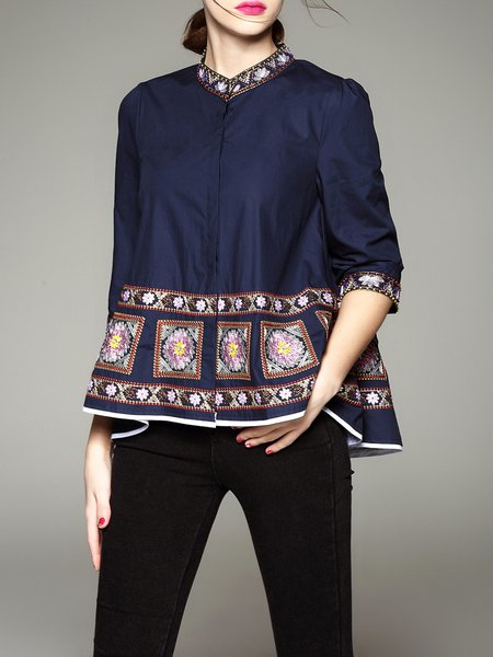 Navy Blue A-line Cotton Casual Blouse