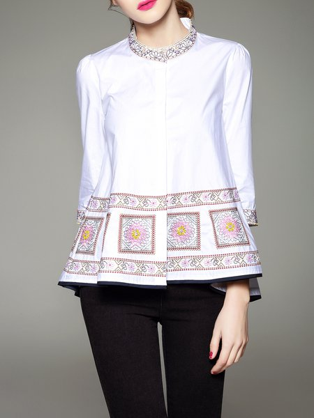 White Casual A-line Blouse