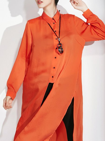 Buttoned Plain Polyester Casual Long Sleeve Tunic