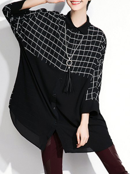 Black Paneled Checkered/Plaid Casual Tunic