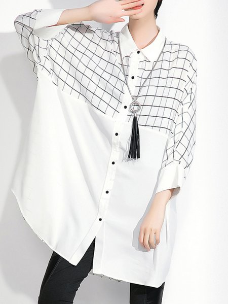 White H-line 3/4 Sleeve Shirt Collar Tunic