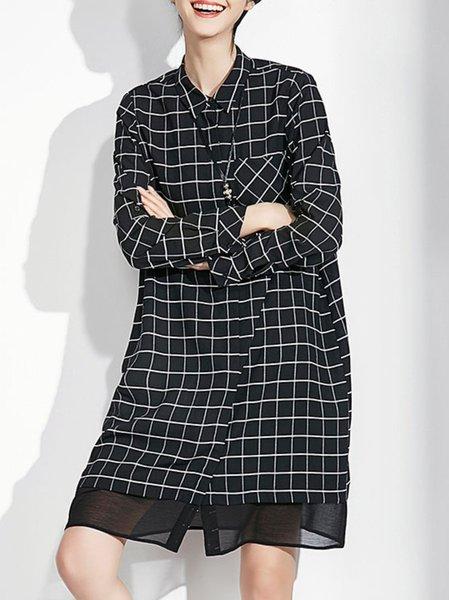 Black Paneled Long Sleeve Midi Dress
