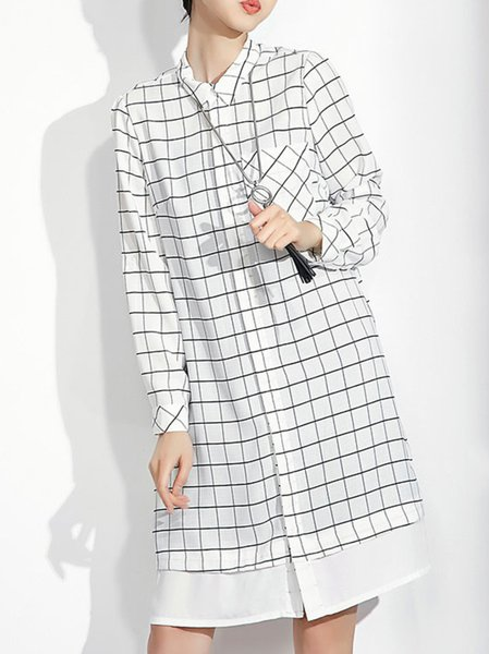 Chiffon Crew Neck Casual Long Sleeve Checkered/Plaid Midi Dress