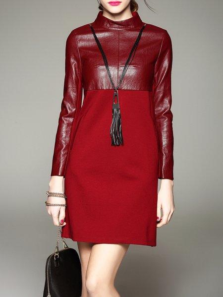 Red Long Sleeve Turtleneck Mini Dress