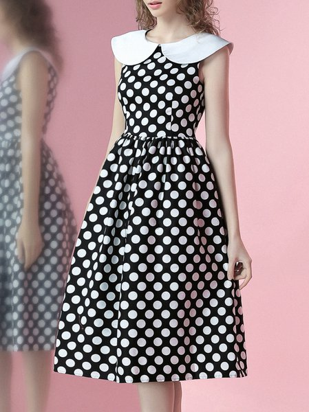 Black Sleeveless Printed Polka Dots Midi Dress
