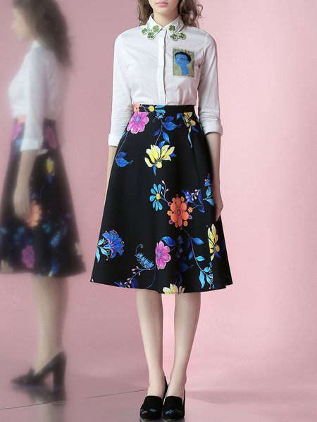 Black Floral Polyester Sweet Printed Midi Skirt