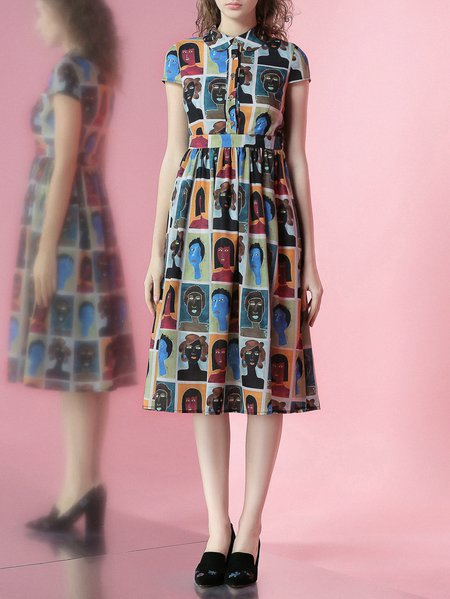 Multicolor Printed V Neck Sweet Midi Dress