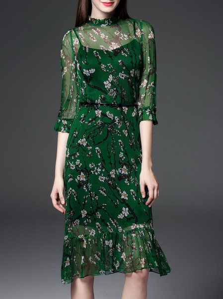 Green Casual Silk Floral Two Piece Midi Dress