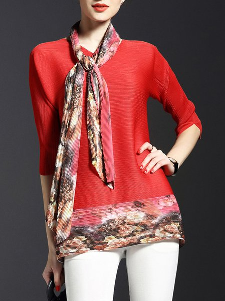 Casual Crew Neck Raglan Sleeve Tunic