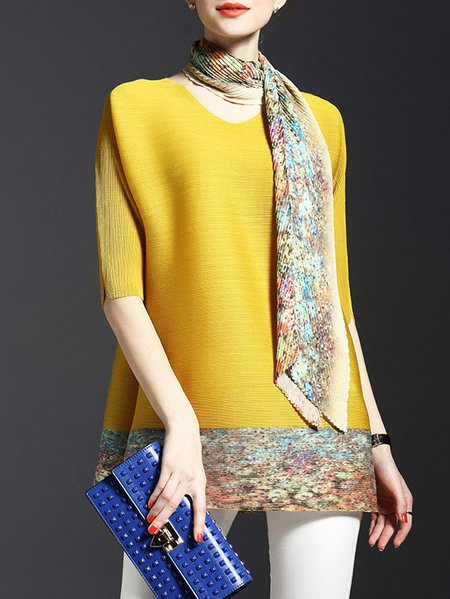 Yellow Casual Ribbed Polyester Tunic