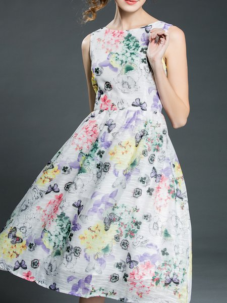 A-line Polyester Casual Sleeveless Midi Dress