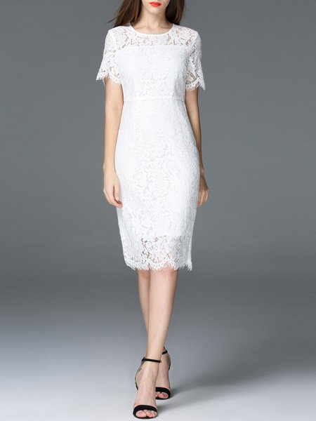 White Elegant Pierced Midi Dress