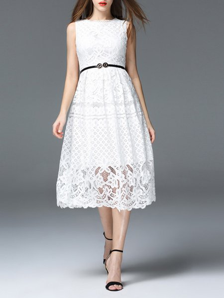 Sleeveless Floral Lace Girly Midi Dress