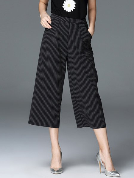 Black Stripes Pockets Polyester Casual Wide Leg Pants