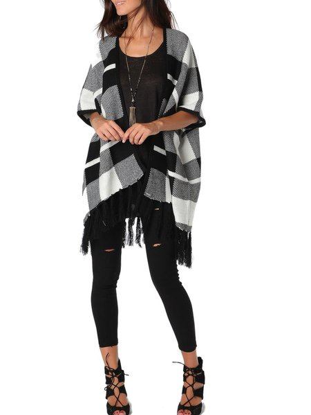 Black Fringed Casual Checkered/Plaid Cape