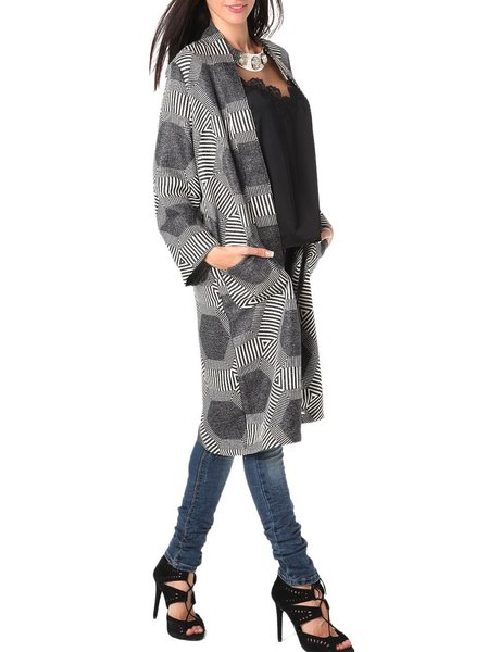 Black Cotton-blend Abstract Long Sleeve Cardigan